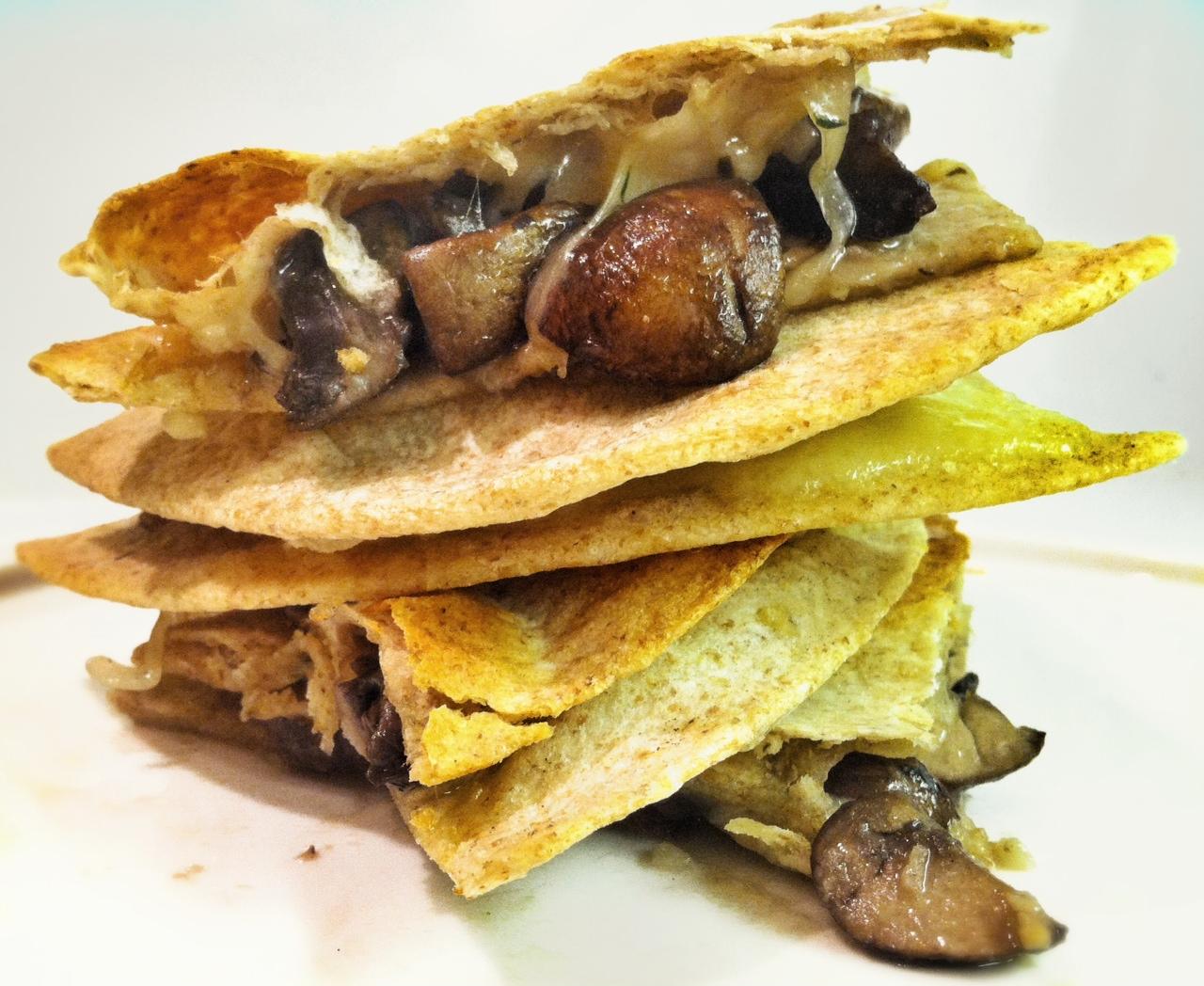 Mushroom Quesadilla with White Truffle Oil   savory