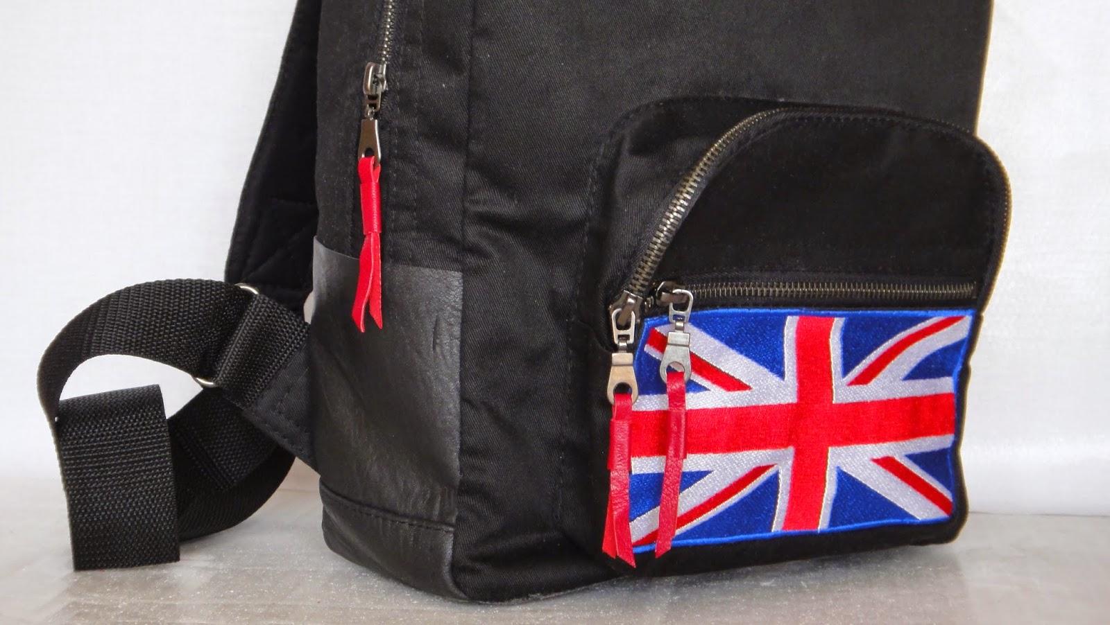 Черный молодежный рюкзак Великобритания, флаг, Лондон