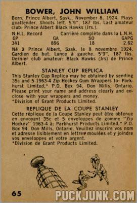 1963-64 Parkhurst #65 – Johnny Bower