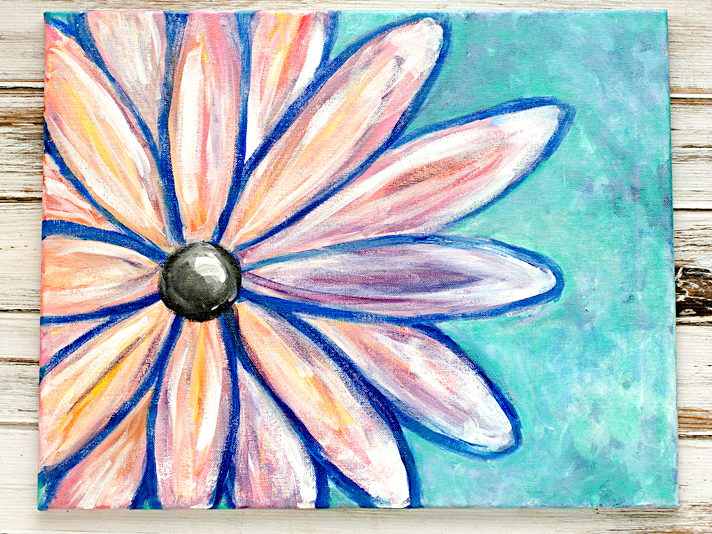 altered abstract wall art | Paint Nite Crazy Daisy | Date Night Fun w/ Hubby