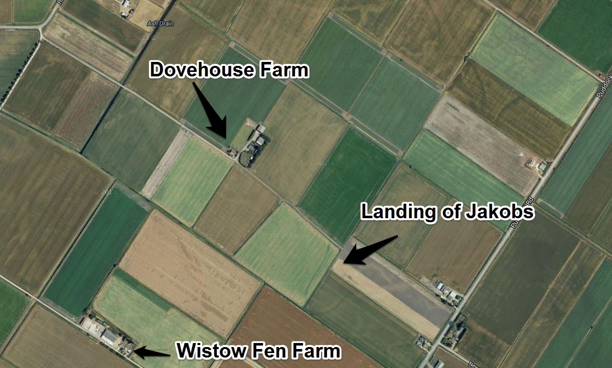Google Map - satellite view - showing locations of Dovehouse Farm, Wistow Fen Farm and landing site of Josef Jakobs