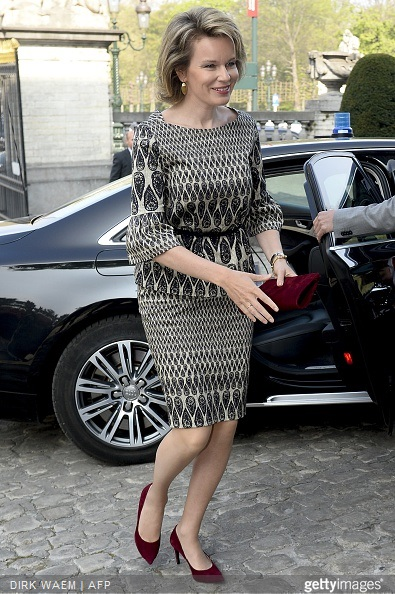 Queen Mathilde of Belgium arrives to attend a ceremony for the Inbev-Baillet Latour awards for Health and Clinical Research in Brussels,