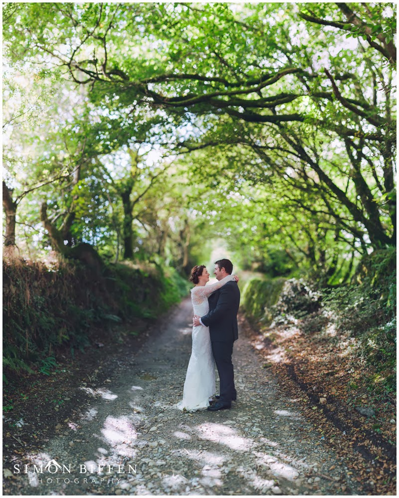 bride and groom lane Trevenna Cornwall