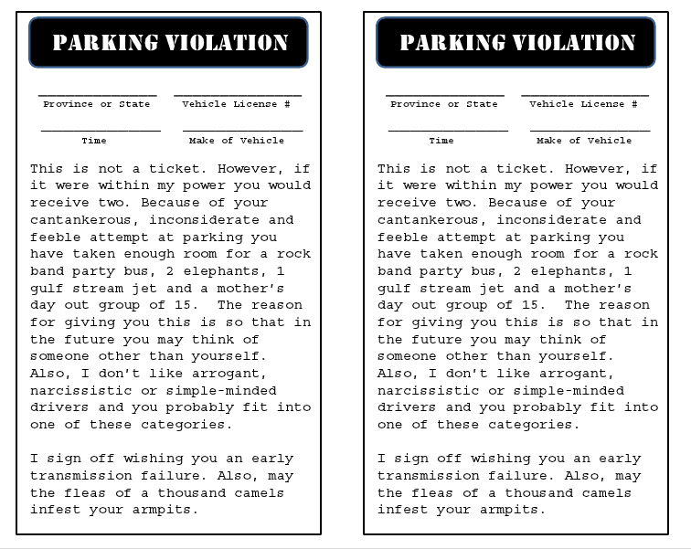Crazy in crafts parking tickets for inconsiderate people for Free fake parking ticket template