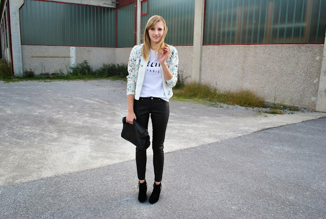 fall look, fall outfit 2013, floral bomber jacket promod, H&M leather pants fall winter 2013, leather lunchbag Zara, celine shirt, céline paris shirt, suede ankle boots black, trendy look, fashion blogger