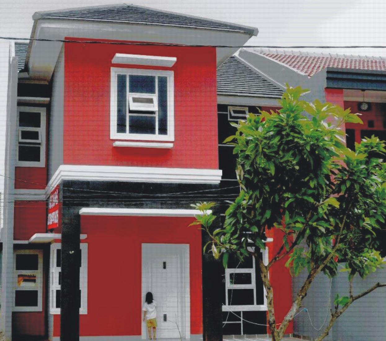 Rumah Minimalis Kombinasi Cat Warna Merah