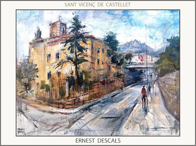 SANT VICENÇ DE CASTELLET-PINTURA-PAISATGES-CATALUNYA-PINTURES-ESGLESIA-PAS A NIVELL-FERROCARRILS-PINTOR-ERNEST DESCALS-