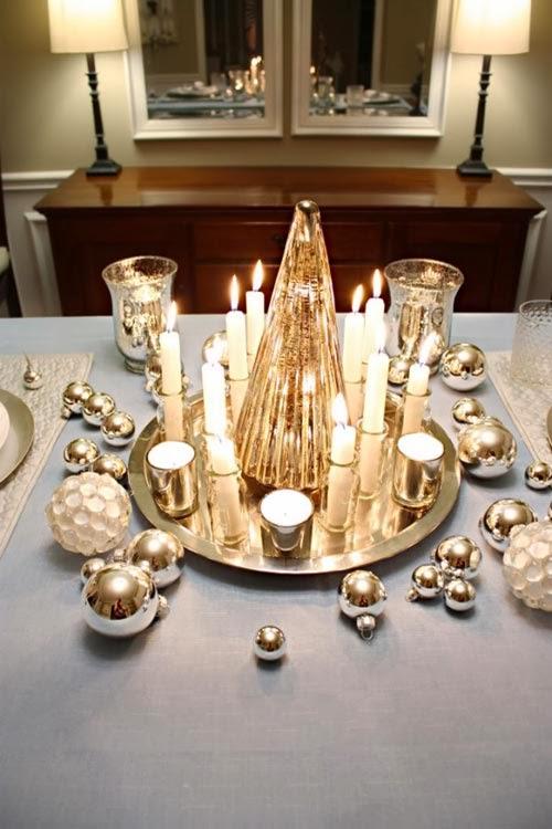 Mesas de navidad en dorado y plata colores en casa - Mesa navidena ...