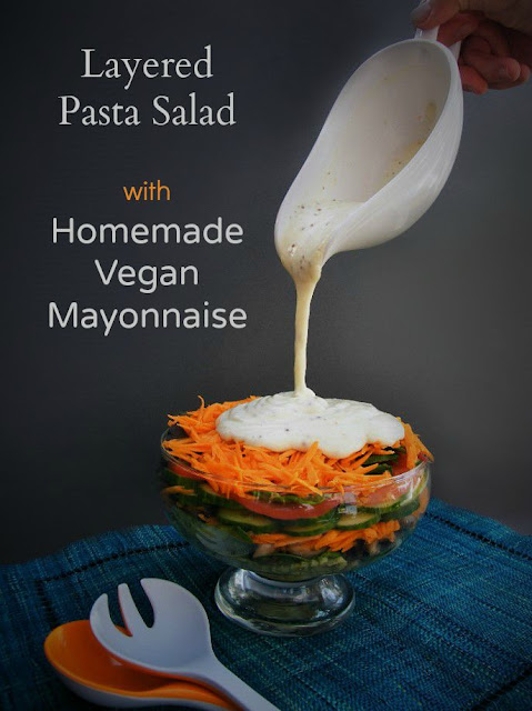 Layered Salad with Pasta and the most glorious Homemade Vegan Mayonnaise that's made in minutes. Great for those on a dairy free diet - www.tinnedtomatoes.com