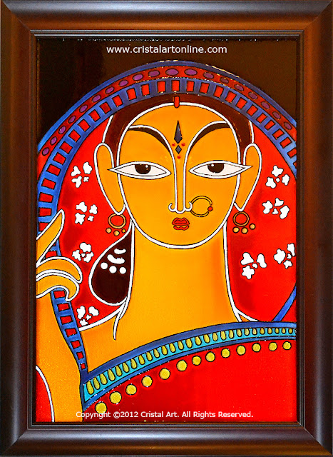 Cristal Art Blog Jamini Roy Pujarini Glass Painting By