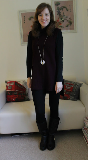OOTD Outfit Of The Day Primark Roll Neck Dress Burgundy New Look Leather Boots Warehouse Topshop Accessorize Marks and Spencer 70s fashion 70s roll neck trend