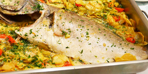 Pescado al horno con hortalizas
