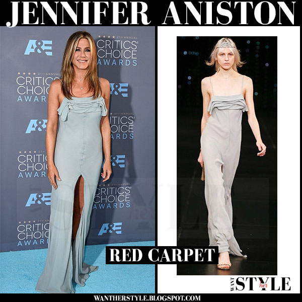 Jennifer Aniston in light blue grey high slit dress saint laurent red carpet critics choice awards what she wore
