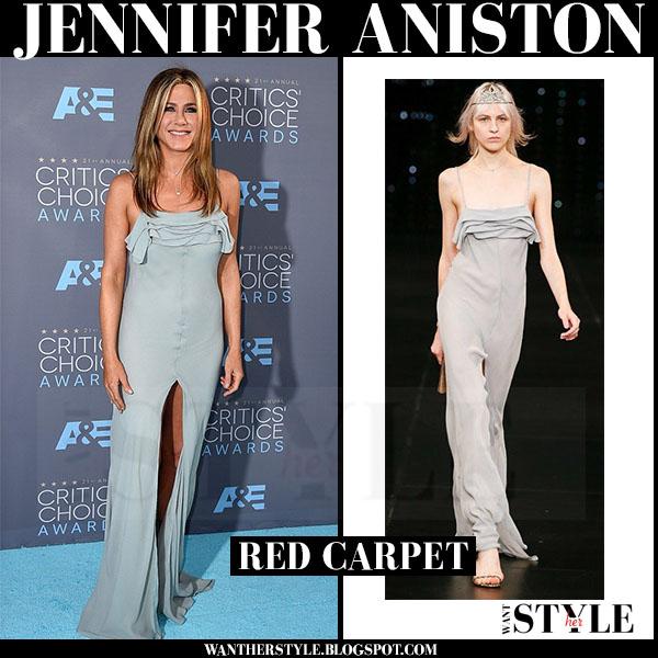 Jennifer Aniston in light blue grey high slit dress saint laurent red carpet critics choice awards what she wore