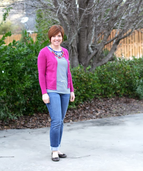 cardigan outfit, striped tee