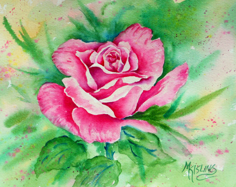 Watercolor Flower Class At The Fine Art Center SINGLE ROSE