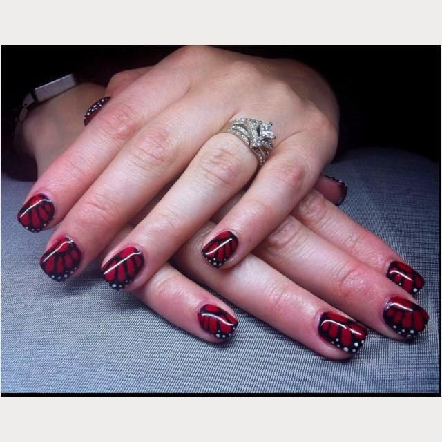 acrylic red black sculpts gel nail polish manicure french nails nail art design