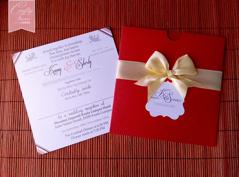 Red and Champagne Chinese Pocket Wedding Card