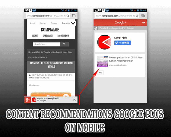 Mengaktifkan Content Recommendations Google+ On Mobile