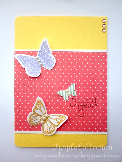 Thank You Cards, pink, buttefly