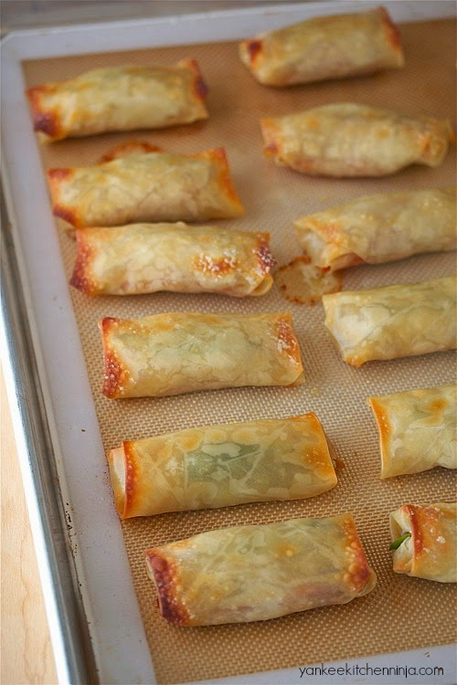 Baked poutine spring rolls | Yankee Kitchen Ninja