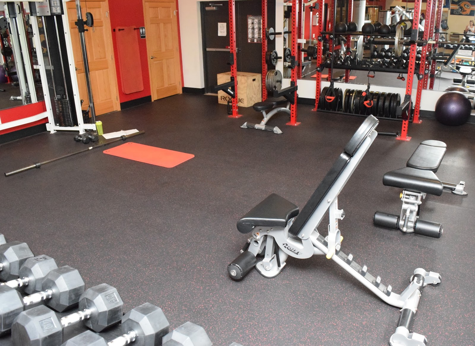 Rubber zebra floor mats - Greatmats Rolled Rubber Flooring Helps Protect The Floor Below And Adds Sound Buffering Qualities To This Free Weight Area At Dunamis Therapy And Fitness