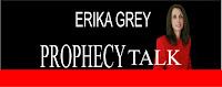 logo of Bible Prophecy Expert, Bible Prophecy Gury Erika Grey which features her photo against a black background and a red band on the bottom and in capital letters it reads Erika Grey Prophecy Talk