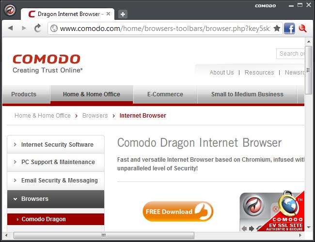 الانترنت Comodo Dragon 67.0.3396.99 Comodo Dragon.png