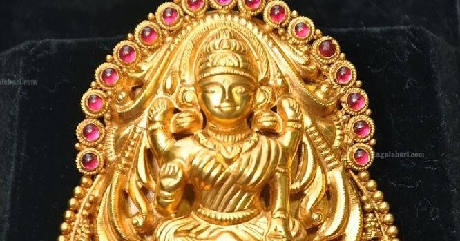 Lakshmi Devi Gold Locket Designer Jewellery Latest