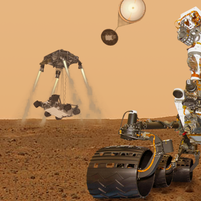 Mars Science Laboratory (MSL) Curiosity. The rover will explore Mars in late 2012 looking for evidence of life and learning more about the planet. Artistic front view over photo-composite take by Opportunity. NASA + JPL + Ren@rt, 2011.