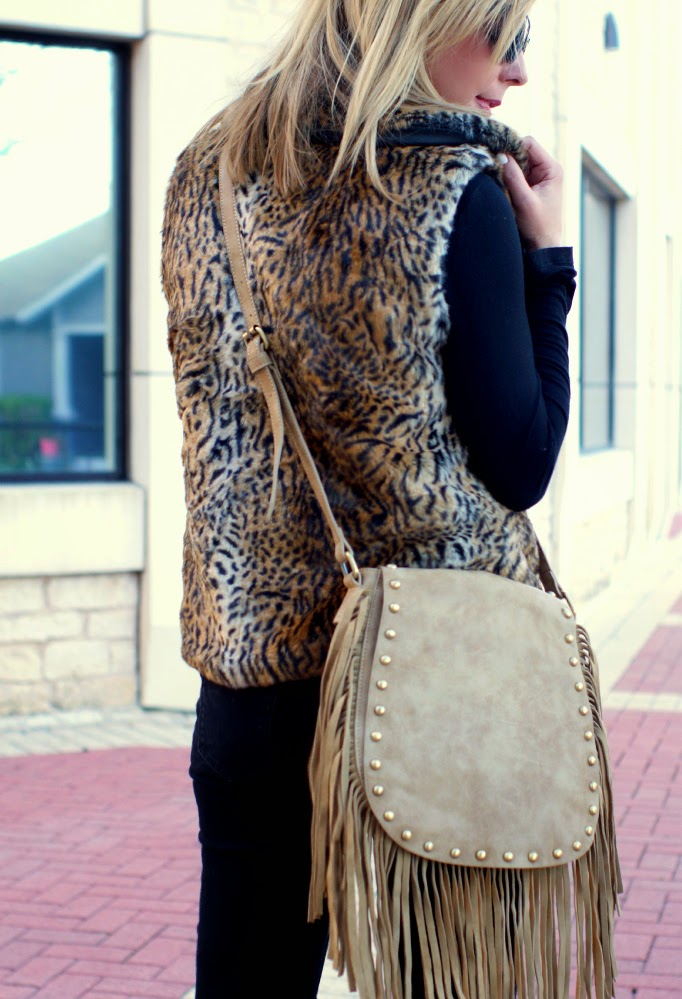 leopard fur and fringe - texture mix