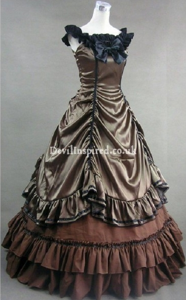 Brown Off-the-Shoulder Aristocratic Gothic Victorian Dress