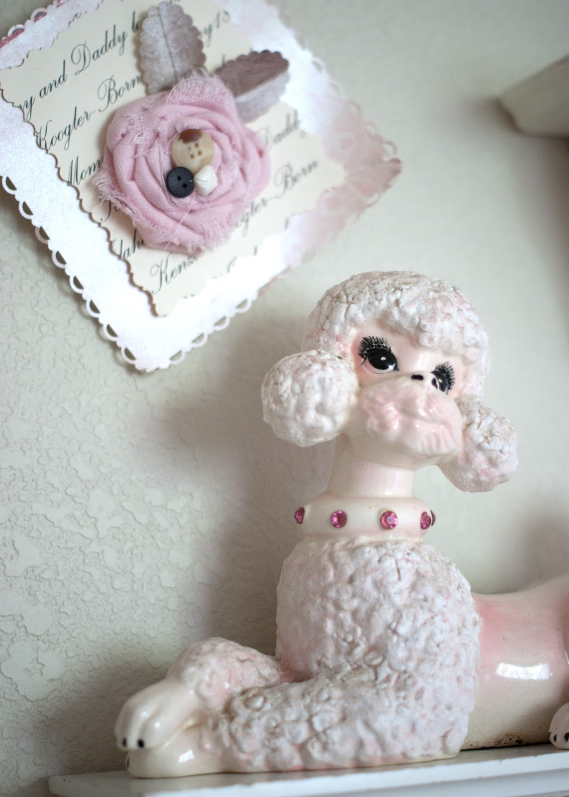 Vintage Poodle and handmade bunting