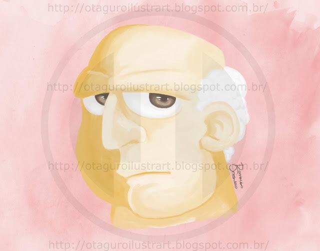 Desenho finalizado de um homem velho
