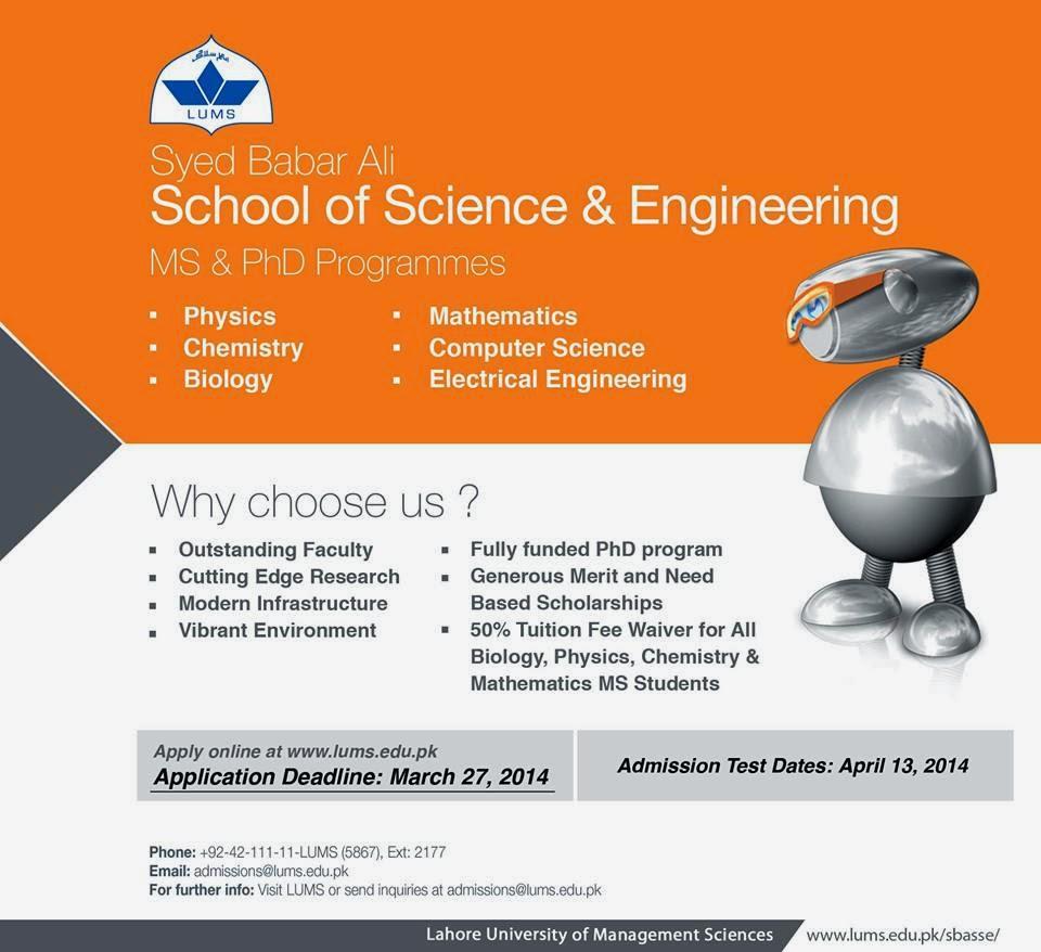 LUMS Graduate Admissions 2014