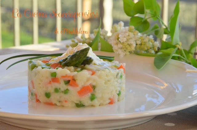 risotto dell'orto con verdure croccanti e burrata