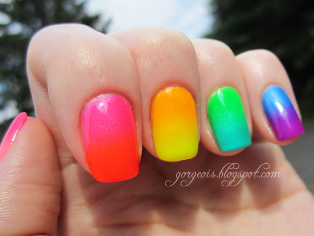 Neon Gradient Skittle using China Glaze Kiwi Cool-ada, Turned Up Turquoise, Splish Splash, Beach Cruise-r, Love's a Beach, Orange Knockout, Sun Worshipper, Sun-Kissed
