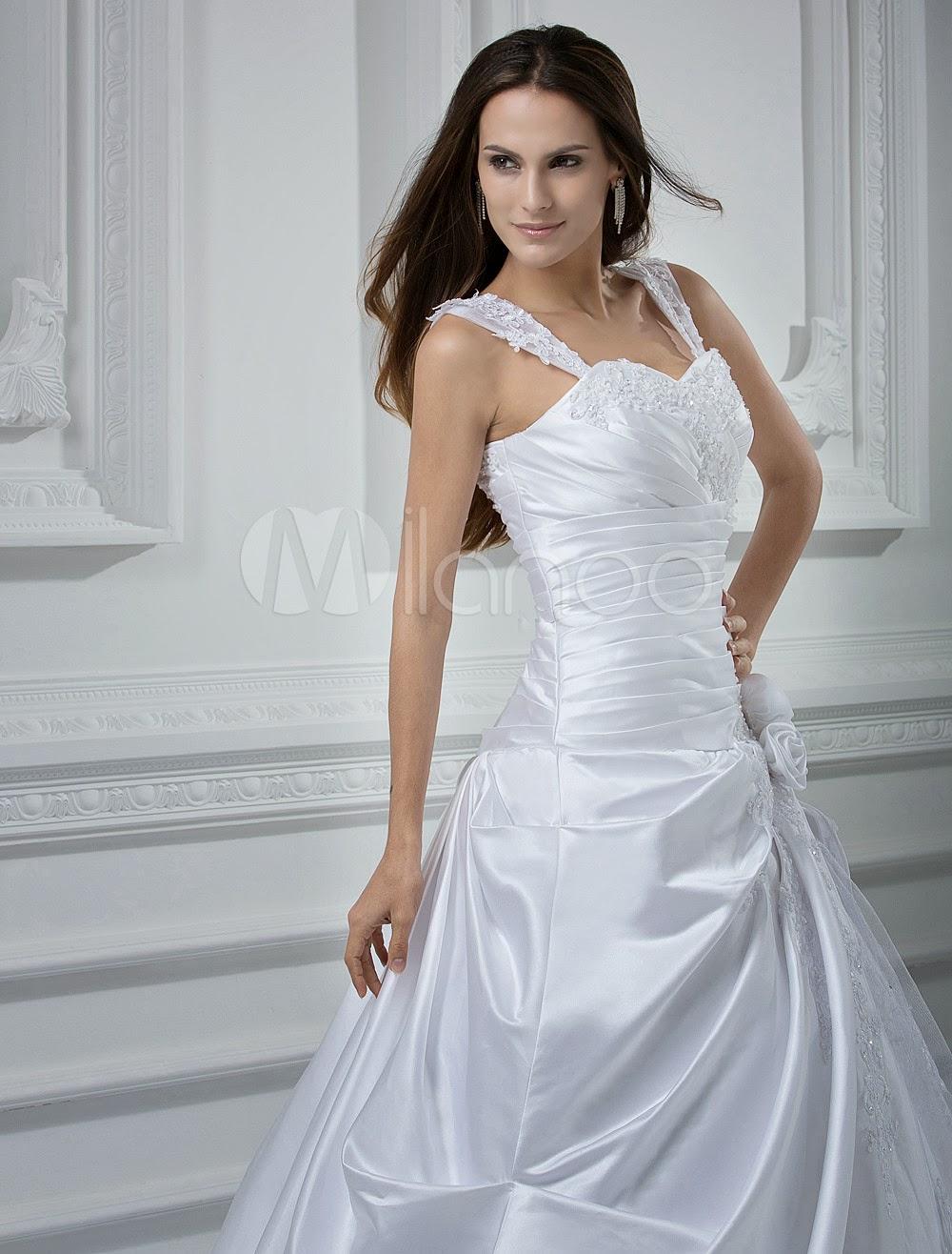 China Wholesale Dresses - Lace White A-line Sweetheart Beading Applique Satin Luxury Wedding Dress