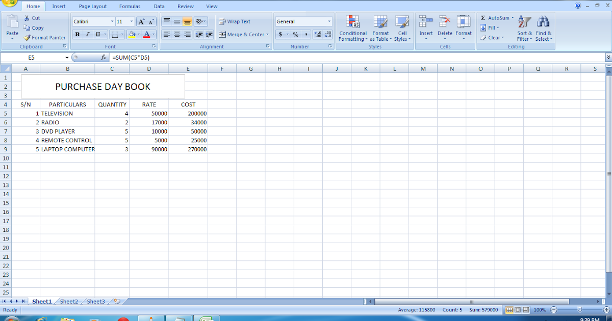 MICROSOFT EXCEL - PURCHASE DAY BOOK | KOKOCOMPUTERS