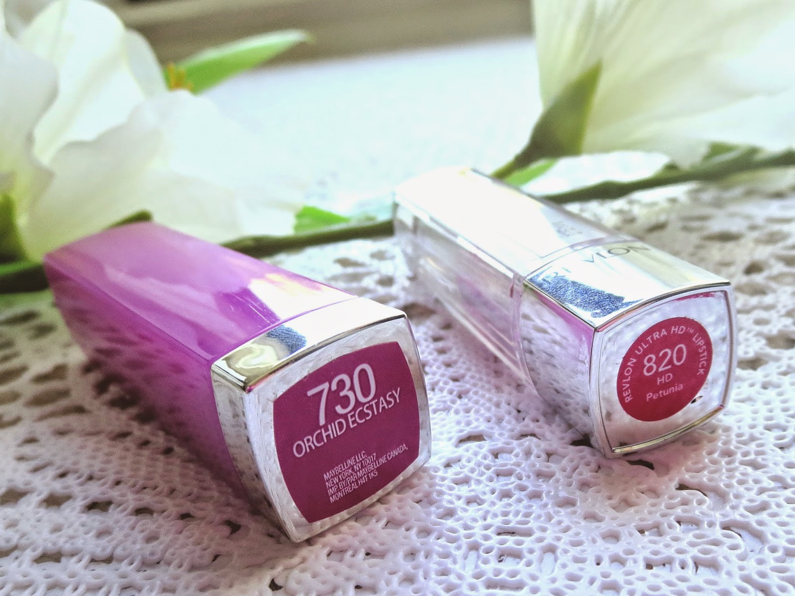 a picture of spring favorites for lips ; maybelline orchid ecstasy, revlon hd petunia