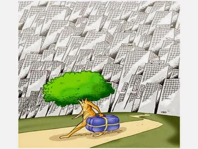 Dibujo de un árbol que se marcha de la ciudad con la maleta