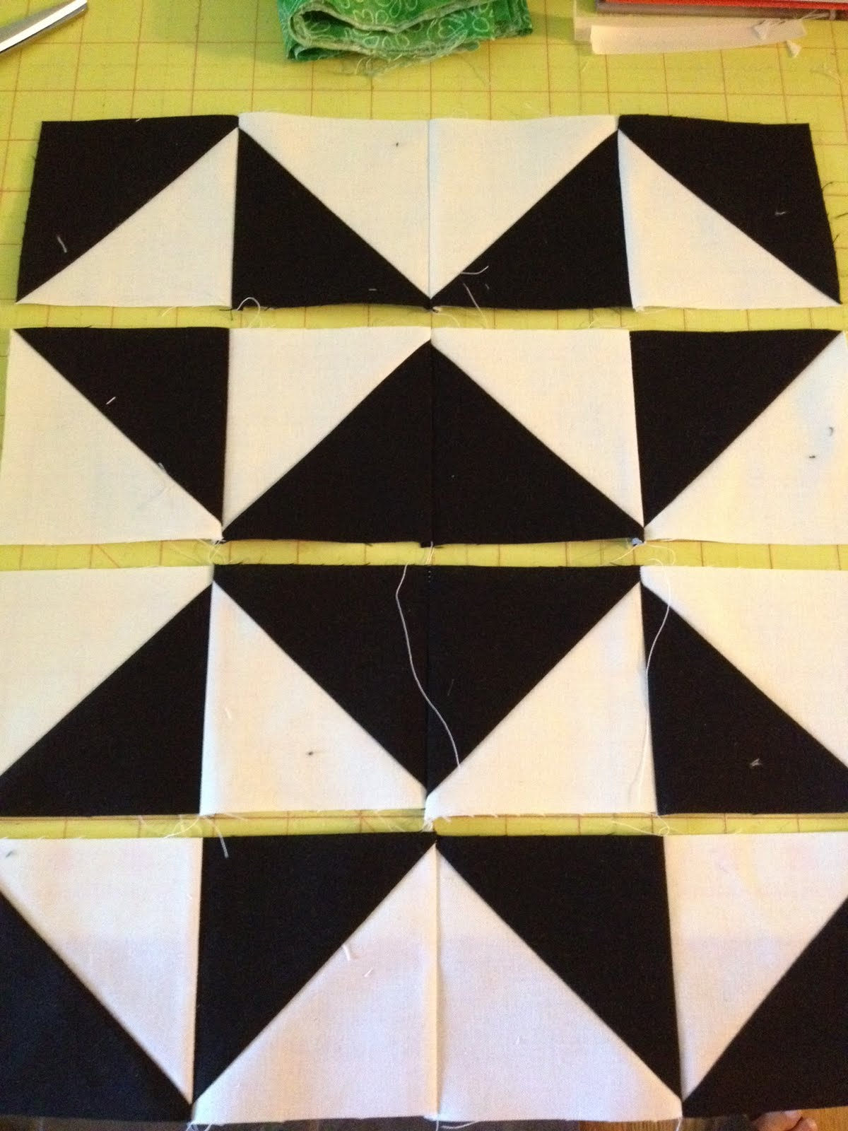 knit n lit: Modern Half Square Triangle Quilt-a-long Block 1