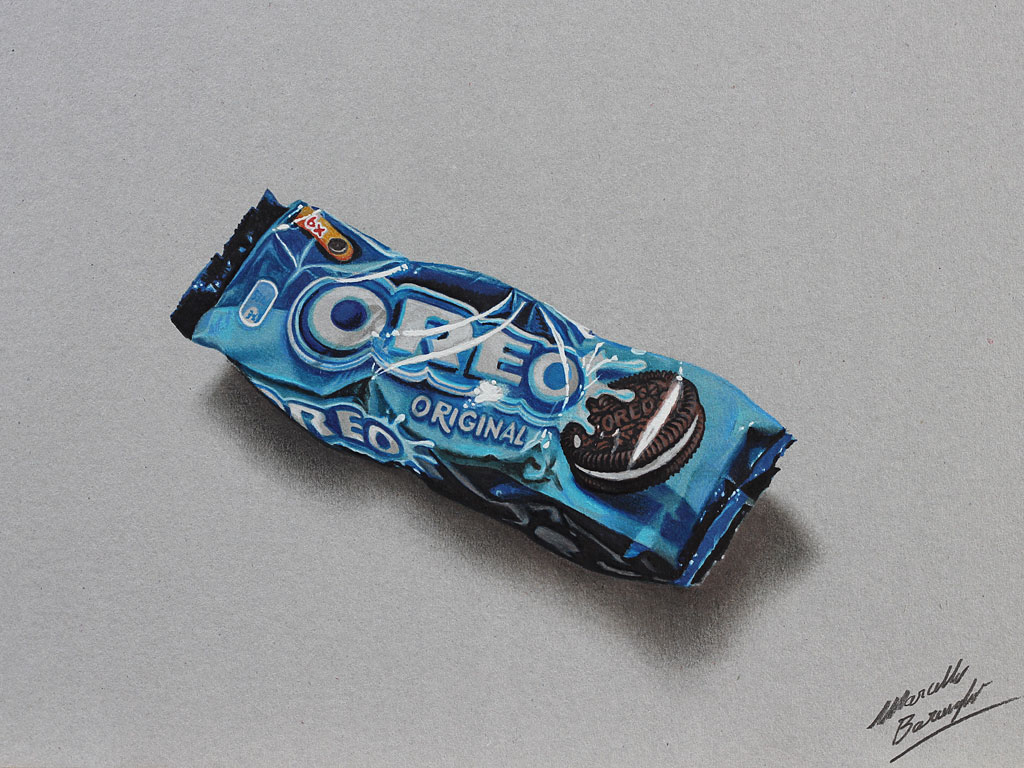 Marcello Barenghi: Oreo cookies pack drawing