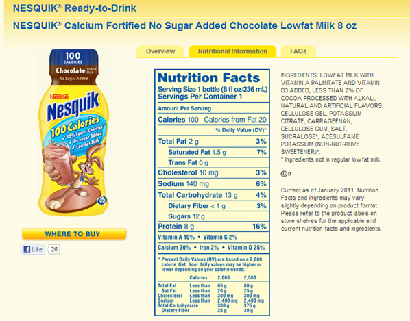 Chocolate flavored milk label making a nutrient claim showing non-nutritive sweetener sucralose and Ace K in the ingredient statement.
