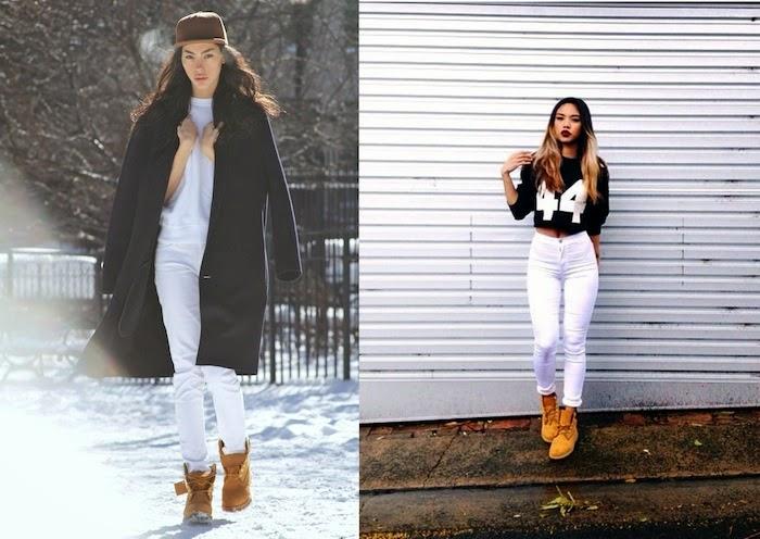 jeans bianchi e timberland