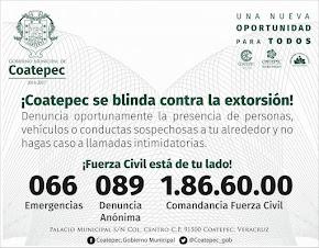 ¡COATEPEC SE BLINDA CONTRA LA EXTORSIÓN!