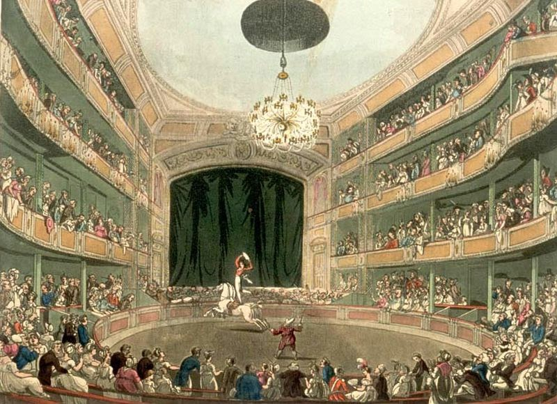 Astley's Ampitheatre in London as drawn by Thomas Rowlandson and Augustus Pugin for Ackermann's Microcosm of London (1808-11)