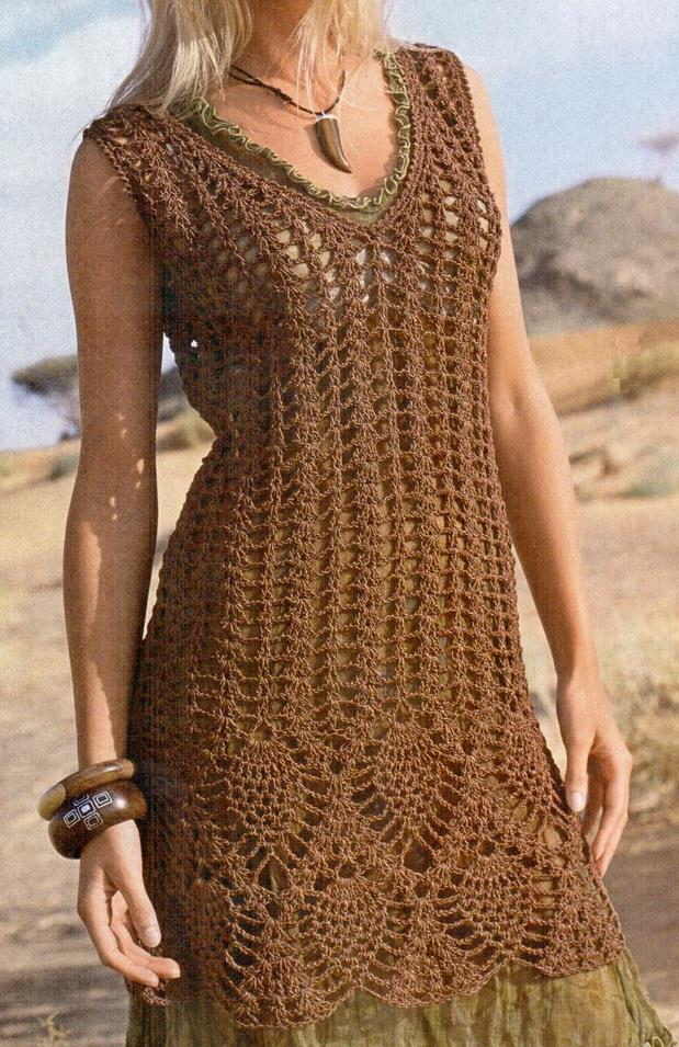 Free Crochet Pattern Tunic Vest : Crochet Sweaters: Crochet Tunic Dress For Women - Free Pattern