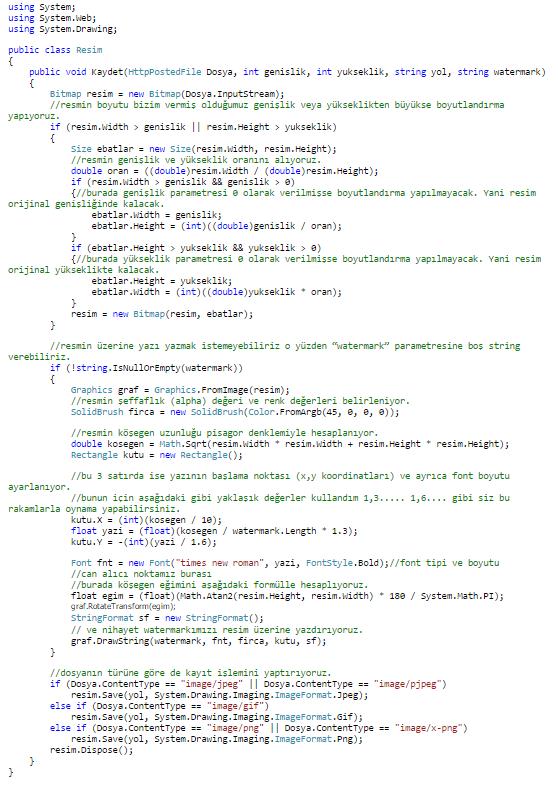 ASP.NET'te C# Kullanarak Resmi Boyutlandırma