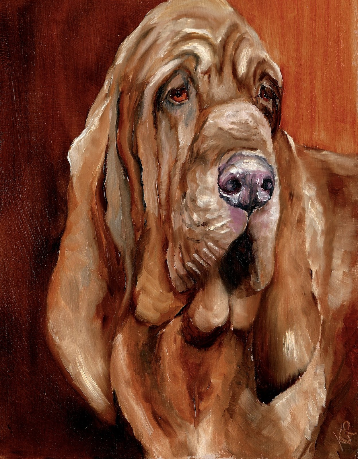 An oil painting of a bloodhound, Legend a bloodhound, pet painting, a pet portrait,